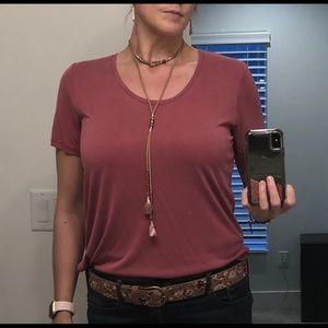 Lucky brand sandwash pink shirt